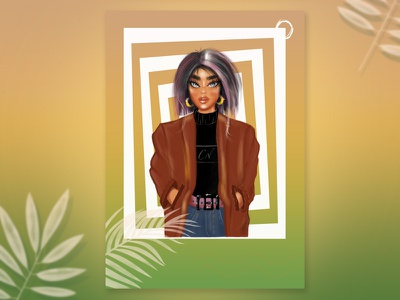 Doll face fashion outfit style character illustration girl digital art