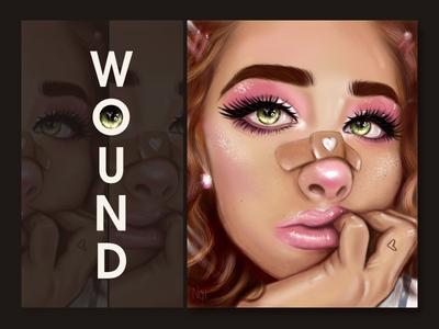 wound girl face portait drawing digital woman digital portrait character artwork art illustration digital art