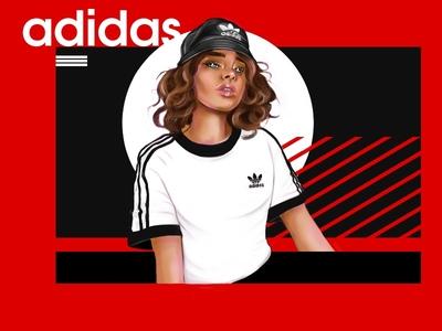 Adidas girl interfaces procreate characters artwork style sport adidas originals adidas design ipad colorful digital art drawing character digital art illustration