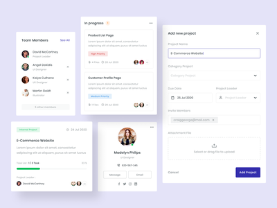 Project Management Card components component card design uidesign app dashboard website clean user interface ux ui cards ui project management card