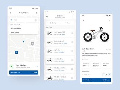 Bicycle Rental Application concept map app design blue and white clean rental app rent blue mobile app app mobile uiux ui bycicle bike