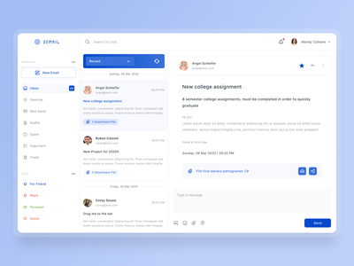 Email Management sidebar mail ui design dashboad clean blue and white management app manage email system website uiux