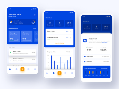 Habit Tracking Mobile App blue and white card mobile application interfaces mobile design design ui design ios design habit tracker tracking habit mobile ux mobile ui mobile app clean chart ui blue analitycs