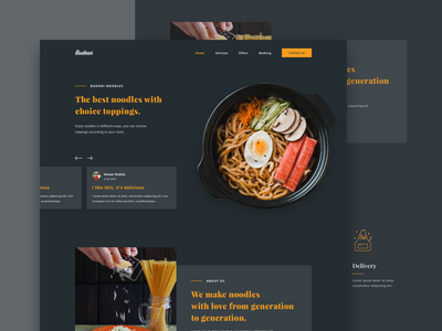 Noodles restaurant website webdesign web branding food food and drink ui design ux ui