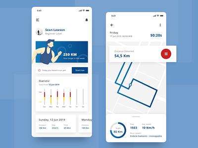 Running App illustration clean health app running app user experience user interface mobile ios