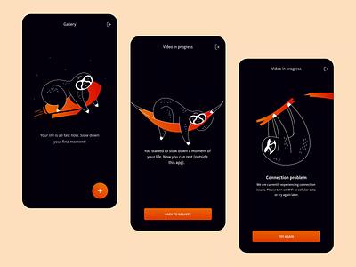 Slowify app illustrations animal vector character sloth simple dark minimal illustration mobile ui mobile user interface design interface ui application app ux animation product design