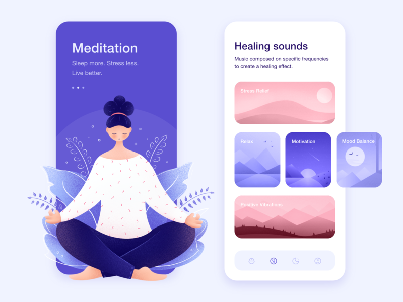Meditation app woman sounds self-care relax user interface design character design character lifestyle health meditation app minimal illustration mobile ui mobile design interface ui app ux product design