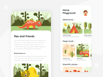 HomePlayground app play education ios dinosaur colors design app product design hackathon child family ux ui mobile app character illustration