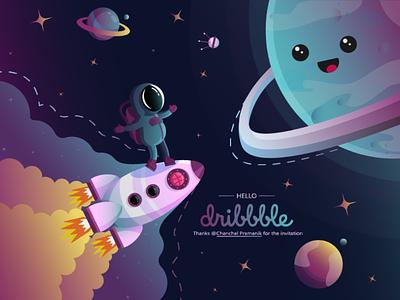 Space trip illustrator vector design art flat design illustration rocket planet stars astronaut first shot hello dribbble space