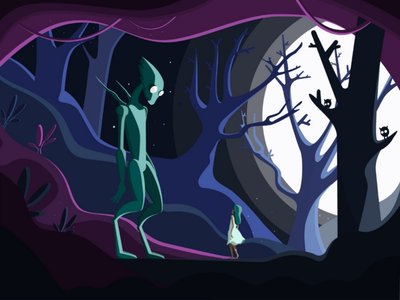 Fairy tale vector pink night nature moon monster magic illustrator illustration girl flat fairytale design cave cartoon art