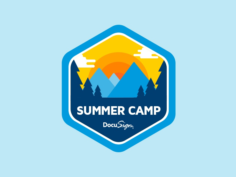 DocuSign Summer Camp Badge forest badge mountains camping docusign