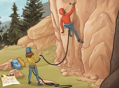 The climbers (Climbon-on Ad) procreate illustration procreate illustration editorial illustration rock climbing climbing gym gym bouldering climbing