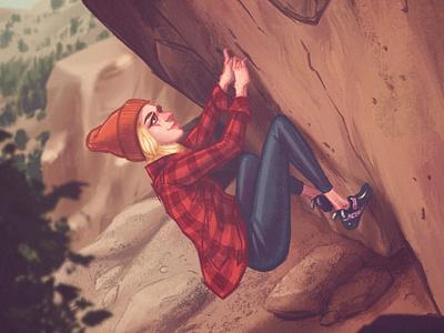 The free spirit illustration editorial illustration editorial character design nature bouldering climbing