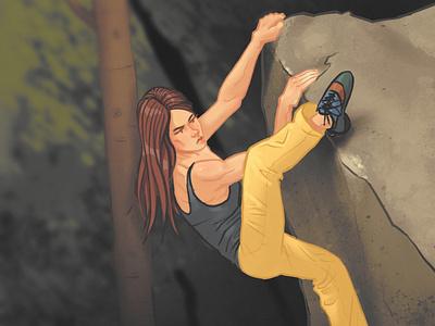 The last effort procreate gym illustration bouldering climbing editorial illustration character design illustration