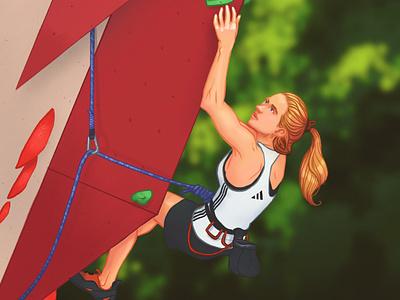 Never gonna give you up sport sport illustration procreate bouldering climbing design editorial illustration character design illustration