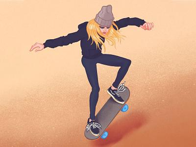 Skate Never Die woman illustration skateboard drawing illustration sport illustration sport skate