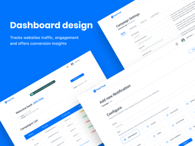 Dashboard design for Pushtrust