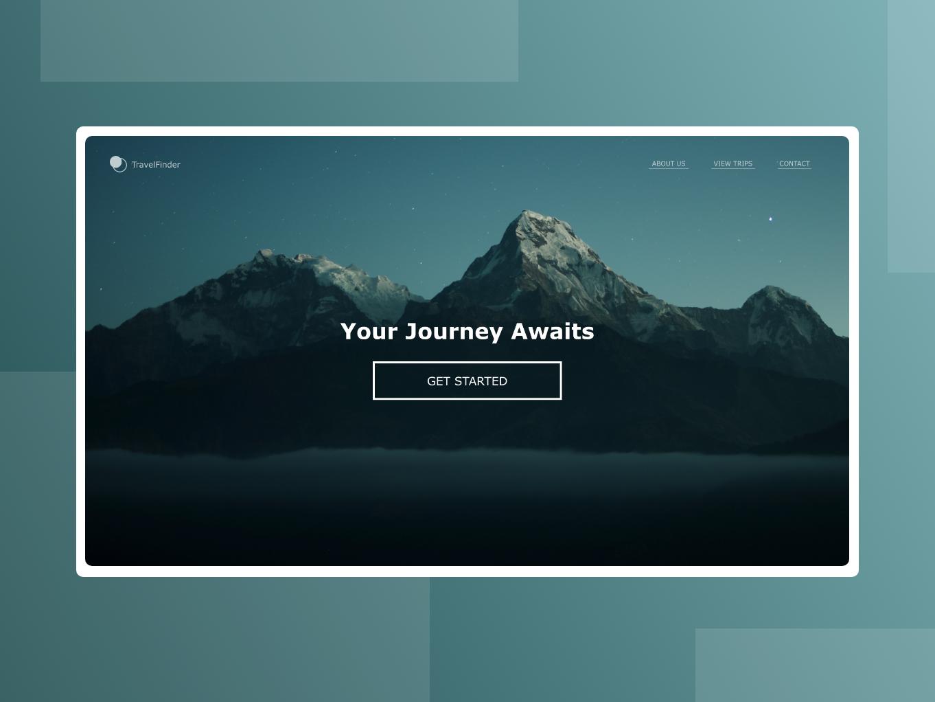 TravelFinder Landing Page ux ui design vector