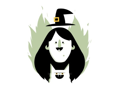 Witching evil spooky halloween witch cat lady character character design illustration