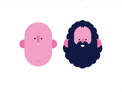 Bald and Bearded bald beard gentlemen illustration character