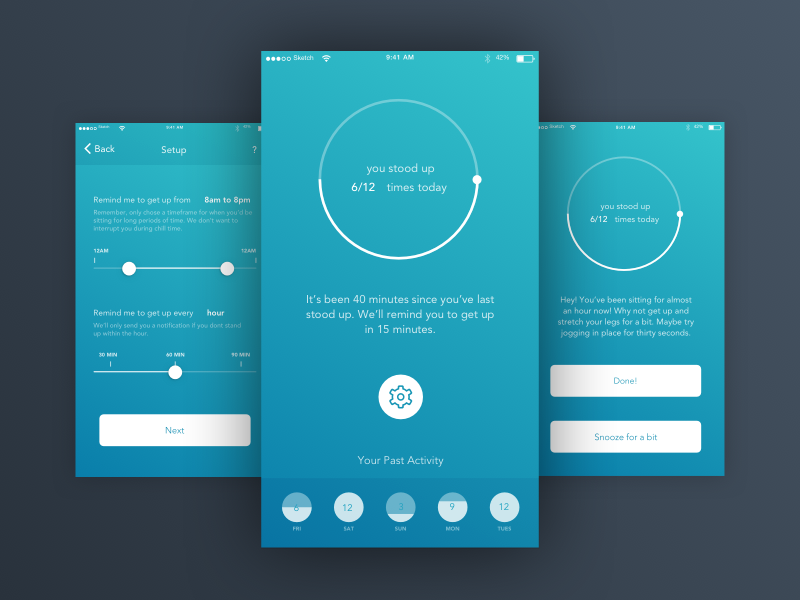 Stand Concept [WIP] app iphone health fitness stand concept ios get up app idea stand up ui uiux