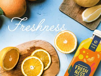 Freshness Orange Juice app illustration branding design banner ad social media