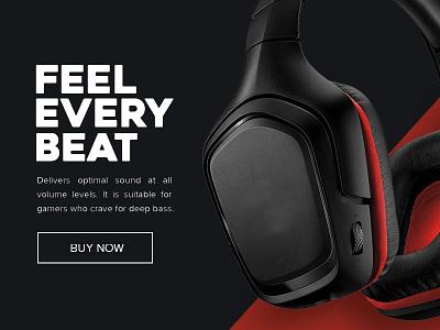 Feel Every Beat gadget headphone branding banner ad social media