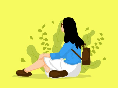 Relax Girl flat design banner ad vector illustration social media