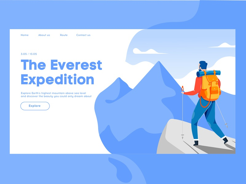 The Everest Expedition mountain expedition expeditions traveler traveling travel landing page illustration landing page concept landing page design landing page landing website flat typography web ux ui vector design illustration