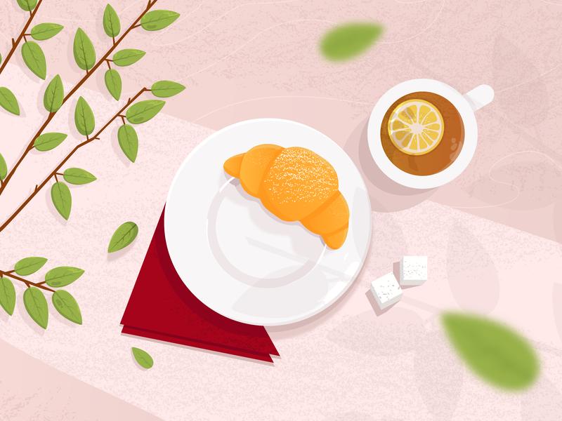 Good Morning grain noise shadow noise illustration art illustration design sugar limon leafs morning nature croissant tea food and drink food vector design illustration