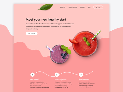 Smoothie design concept fruits pink organic vegan vector branding interface clean fonts brand identity illustration ux ui web smoothie landing