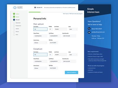 User Information Screen financial figma screen mobile navigation steps dashboard loan finance branding ux layout clean interface concept design