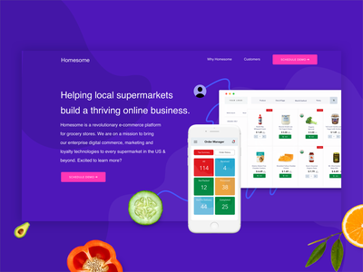 GetHomeSome Landing Page ecommerce supermarket vegetarian fruits web app ux design vector shopping food interface branding brand identity illustration landing page landing website grocery app crunchbase concept ui