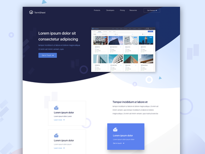 Landing Page property real estate uiux blue landing landing page fonts illustration layout interface concept clean ux brand identity design ui