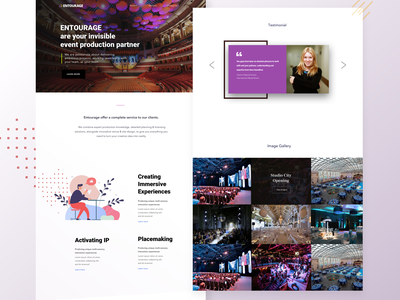 Landing Page - Entourage testimonials illustration gallery web uiux fonts home page design landing page brand identity interface concept design ux ui