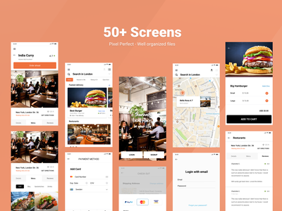 Restaurant/Food app UI kit detailed listing geo mobile app mobile ui apple android mobile screens payment restuarant food roboto fonts brand identity design ui8net ui8 ui