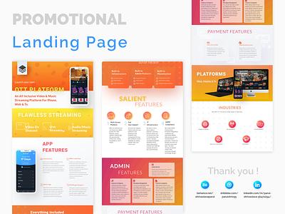 Ott landing page video app app video streaming gradient promotional page platform ott landing page website branding design adobexd ux ui