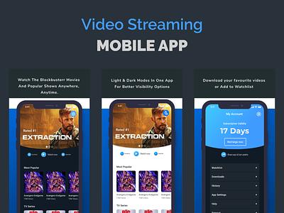 video streaming app ux light mode dark mode mobile app design video streaming design app ui adobexd