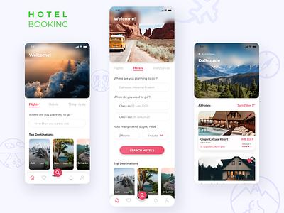 Daily UI Challenge 006-Hotel Booking app hotelbooking booking app hotellisting hotels booking travel mobile app design adobeillustator digitalart branding illustration app ux design ui adobexd