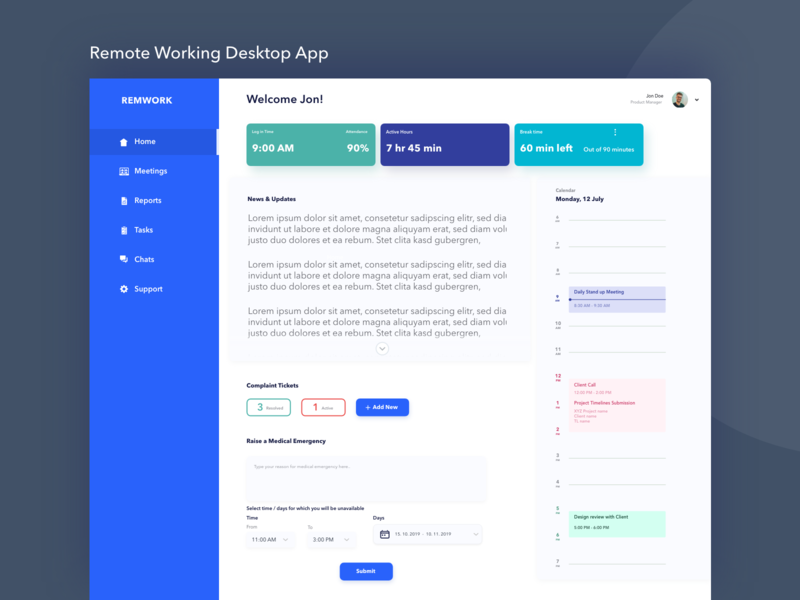 Daily UI Challenge- Day 20 Website for Remotely Working tool system meeting attandance user interface design user experience design desktop app remote working work from home system management interface design interaction design webinterface dailyuichallenge uidesign illustration ux design adobexd ui