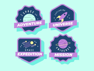 Space adventure vector icon logo illustration design