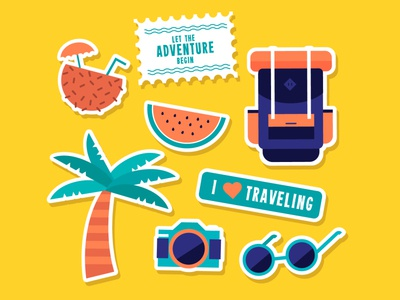 Travel stickers vector illustration design