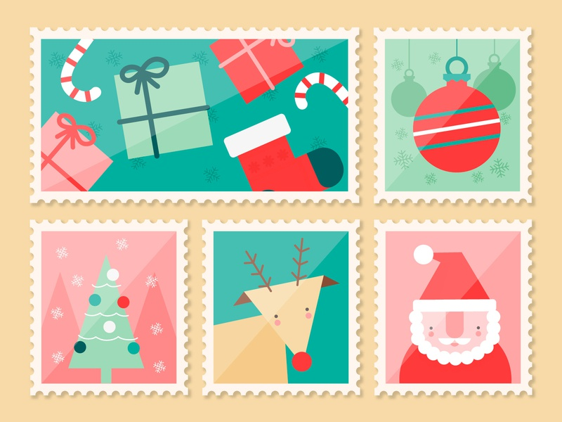 Christmas stamps flat vector illustration design