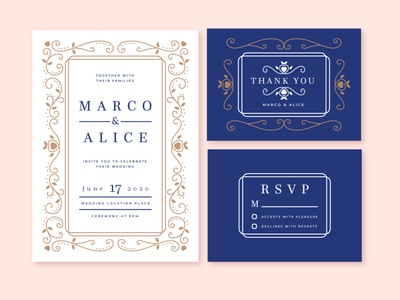 Wedding invitation wedding flat vector illustration design
