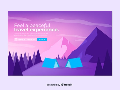 Travel landing flat vector illustration design landing
