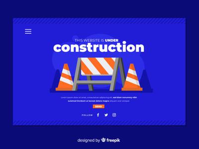 Under construction flat vector illustration design landing