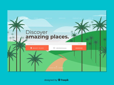 Travel landing flat vector illustration design landing colombia travel