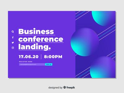 Conference landing landing flat vector illustration design