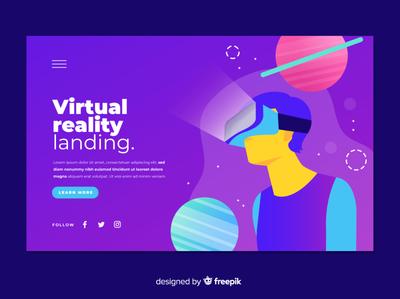 Virtual reality landing flat vector illustration design
