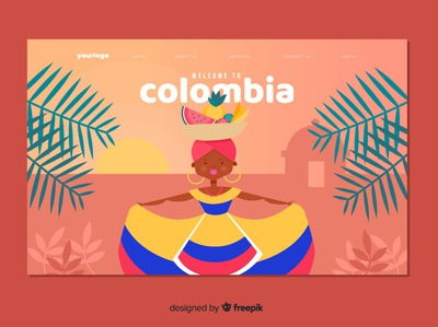 Colombia landing colombia landing flat vector illustration design